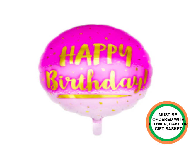 Happy Birthday Pink and Gold Balloon