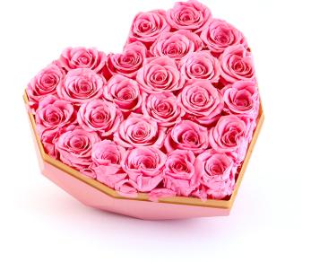 Preserved Pink Rose in Pink Heart Box Big