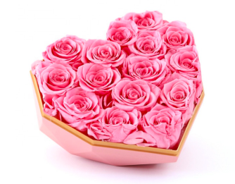 Preserved Pink Rose in Pink Heart Box