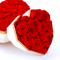 Preserved Red Rose in White Heart Box
