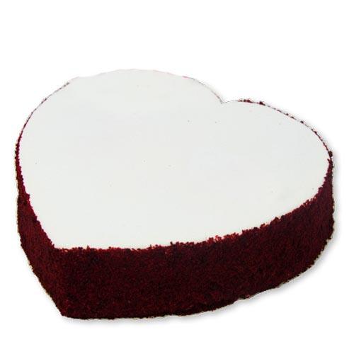 White Red Velvet Heart Cake