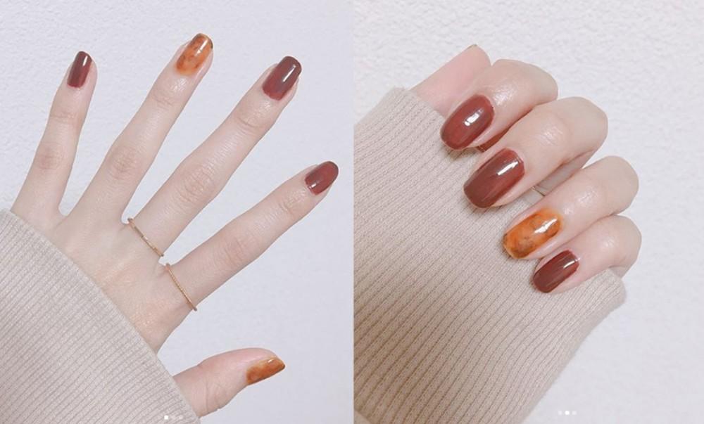 日系個性風橘紅調美甲