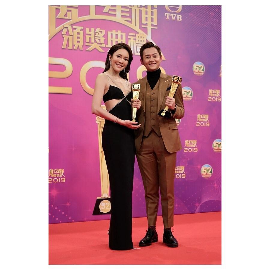 張曦雯在《萬千星輝頒奬典禮2019》奪得「飛躍進步女藝員」
