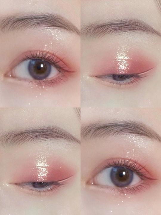 櫻花粉色眼妝教學