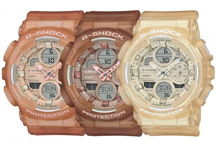 G-SHOCK的三款奶茶色手錶GMA-S140NC 採用經典GA-140錶款為原型