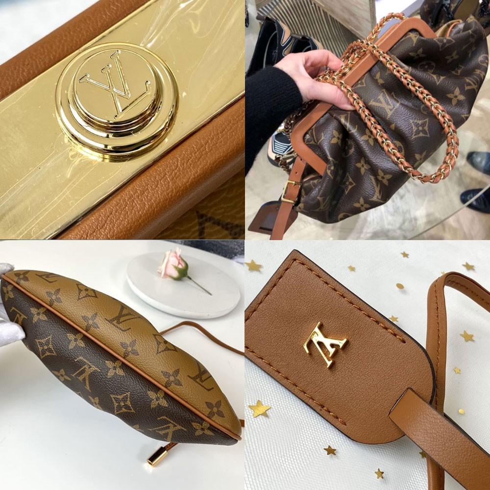 這次LV「雲朵手袋」還加入了一個全新的設計,就是以皮穿鏈組成一條小肩帶,金屬鏈條上的皮可是編織出一個V字造型