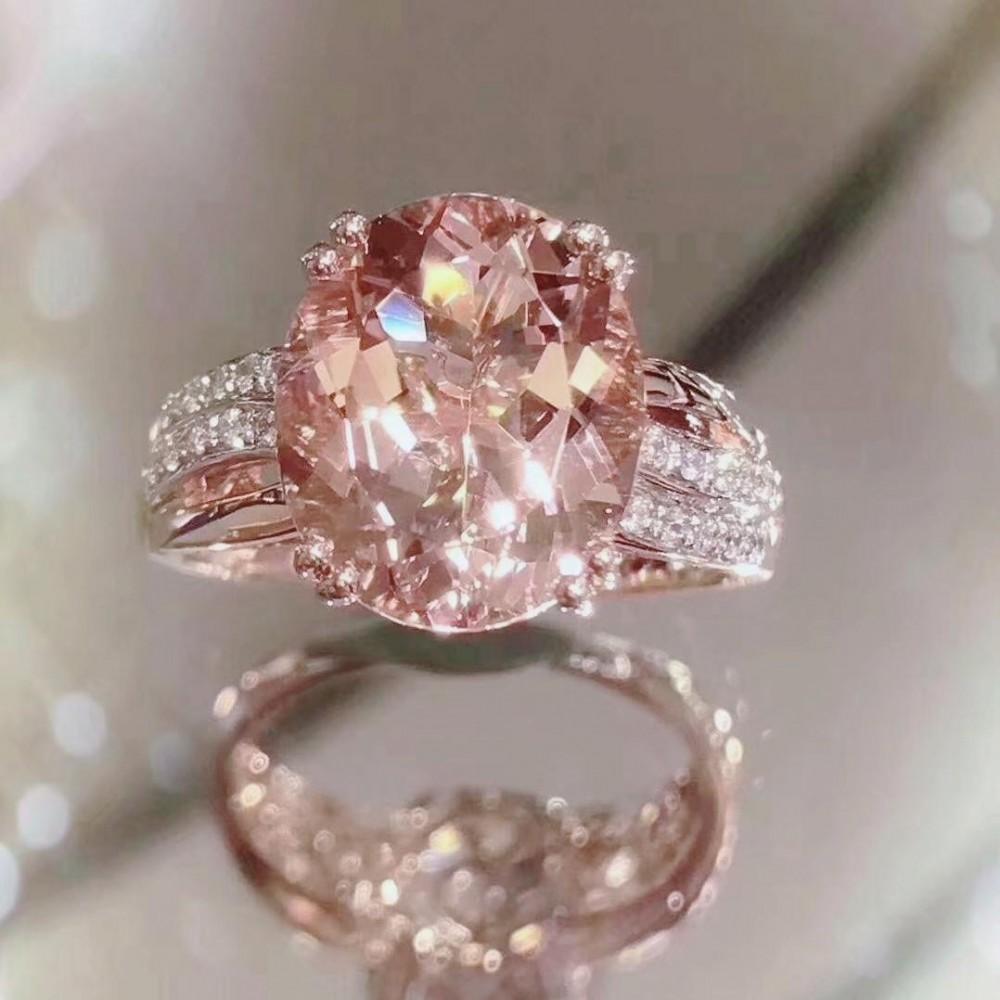 浪漫粉紅摩根石戒指
