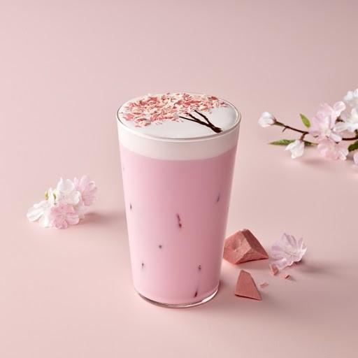 韓國Starbucks 櫻花紅寶石朱古力 拉花櫻花