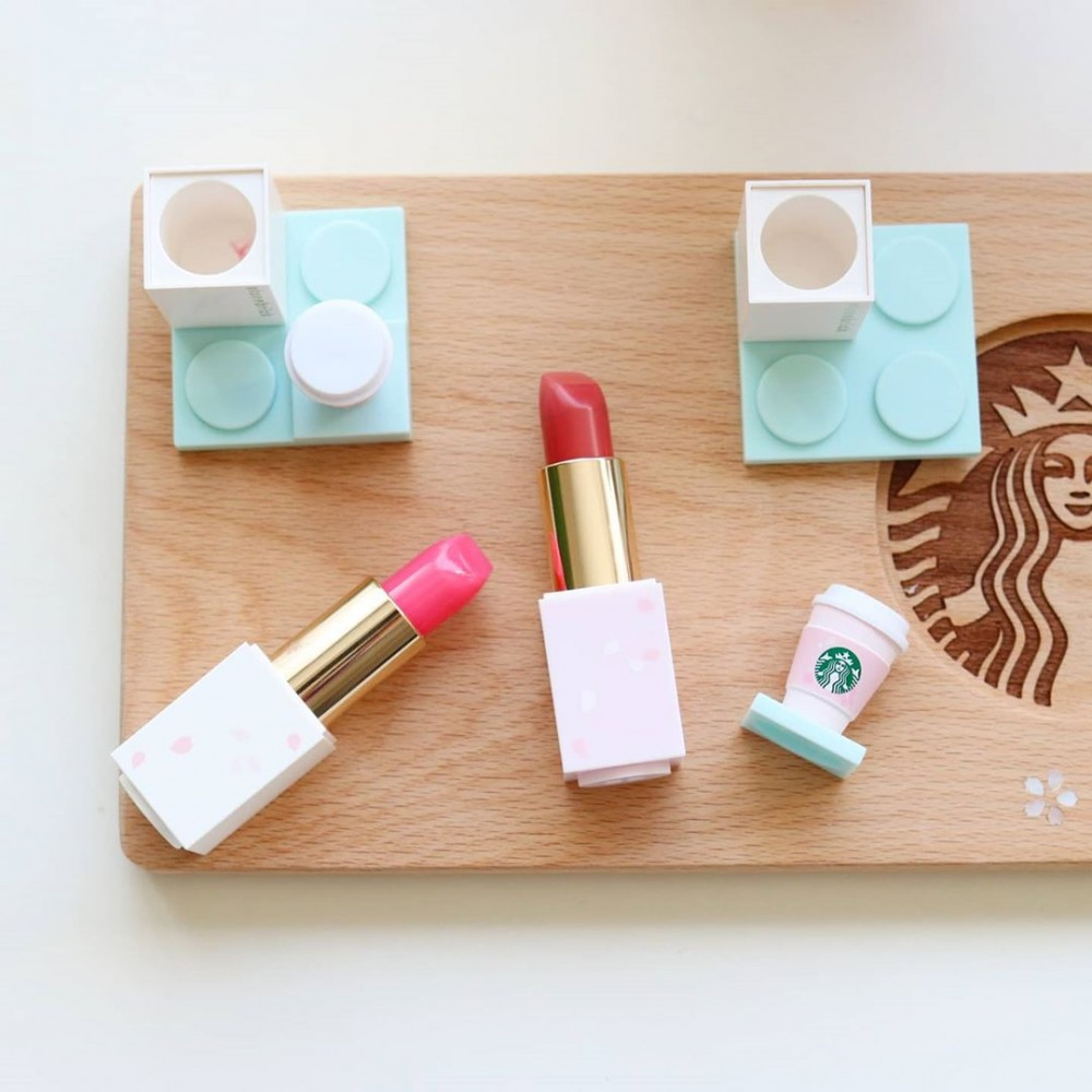 韓國Starbucks櫻花積木唇膏 聯乘Stone Brick