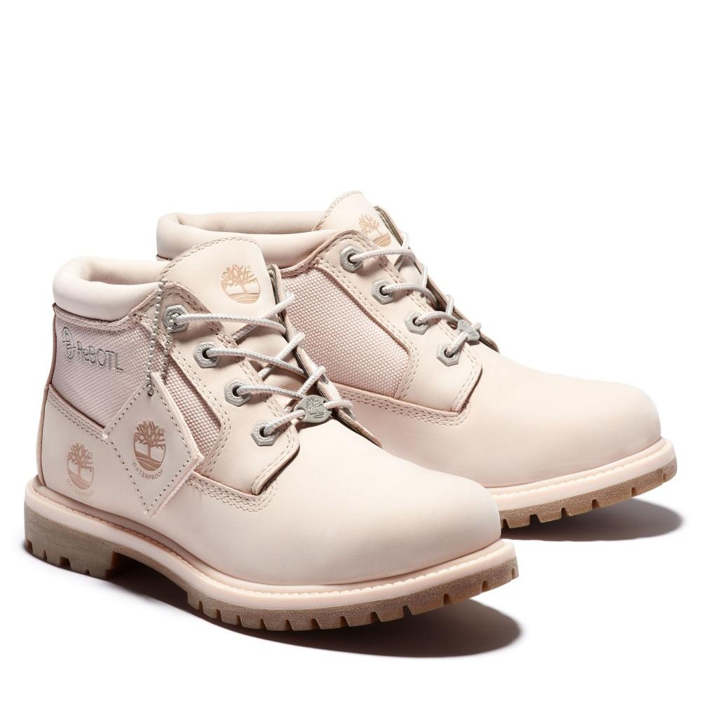 Timberland女款淺粉拼接短靴