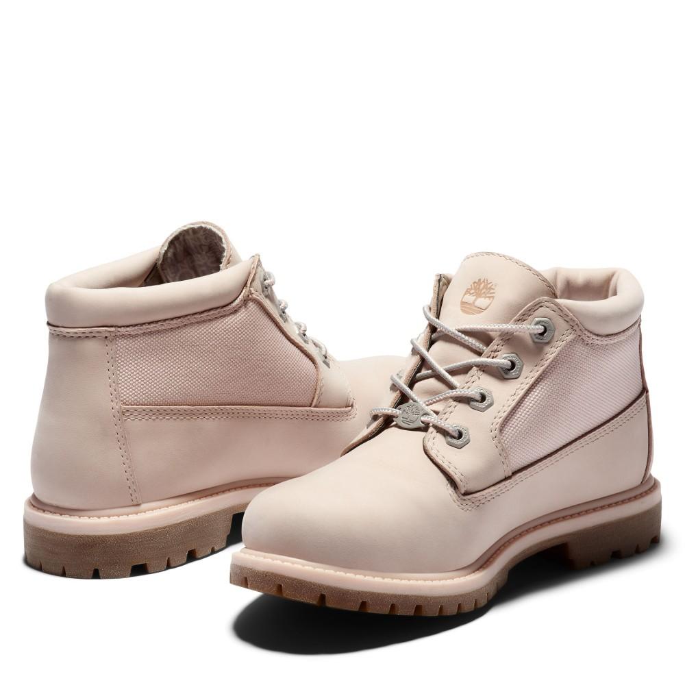 Timberland女款淺粉拼接短靴Women's Nellie Chukka Double Fabric and Leather Waterproof Boot