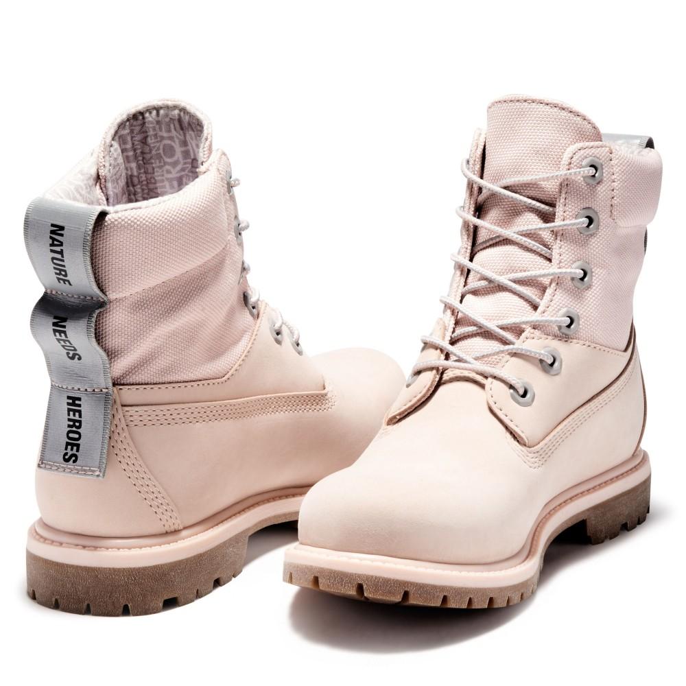 Timberland女款淺粉紅磨砂革休閒中筒靴Women's Timberland® Premium Waterproof Fabric and Leather Boot