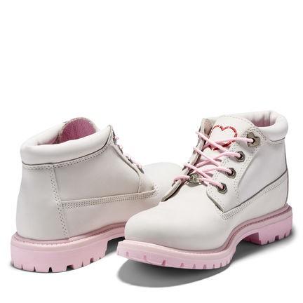 Timberland女款白色磨砂革愛心短靴 Women's Nellie Chukka Double Waterproof Boot