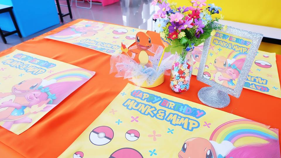 Cute birthday in Pokemon and Trolls themed decoration, backdrop, cake table, birthday cake and themed desserts - We can customize your party in any themes you like