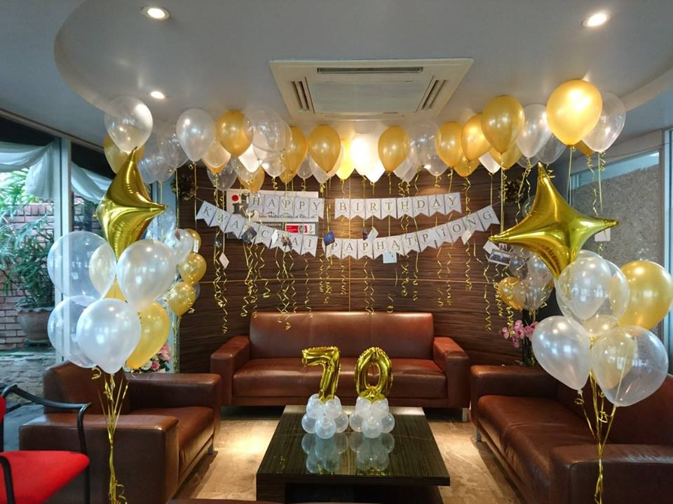 จัดลูกโป่ง ตกแต่งงานปาร์ตี้ จัดฉลองวันเกิดด้วยธีมสีทอง เหมาะสำหรับทุกเพศทุกวัย จัดลูกโป่งเซอร์ไพรส์คนที่คุณรักได้ทุกโอกาสสำคัญ