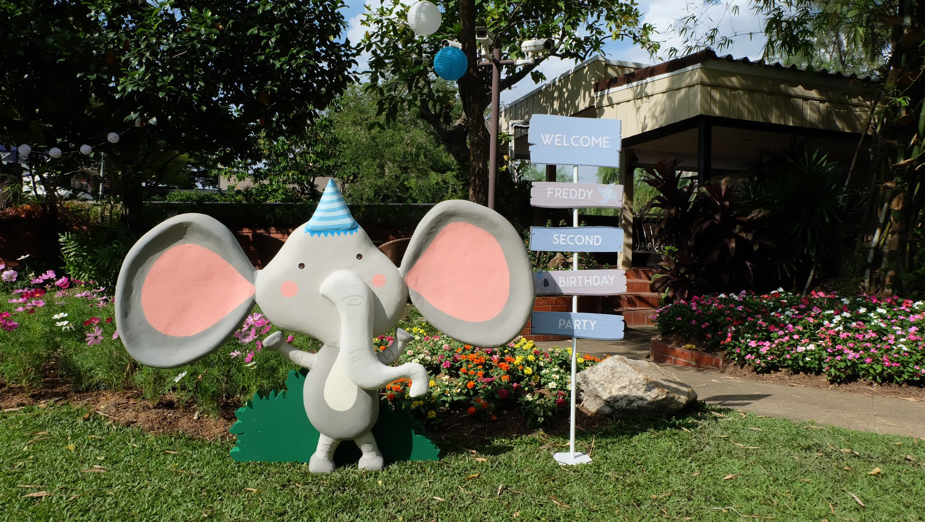 Birthday decoration in Elephant theme party with cute birthday decoration, backdrop, cake table, birthday cake and themed desserts