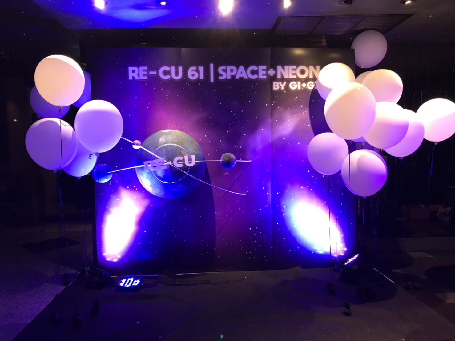 Party design and backdrop design in Space theme - we provide decorations, balloons, catering, light and sounds, entertainments