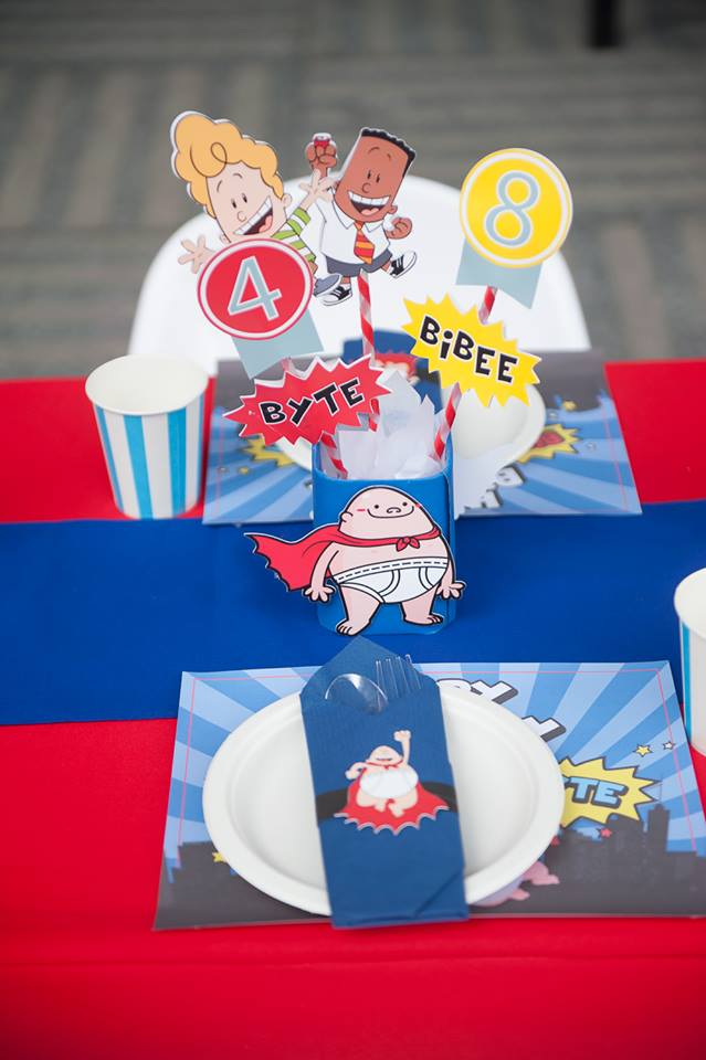 Captain Underpants themed party ideas for your son's birthday including backdrop, balloons, party decoration, kids table and more fun stuffs!