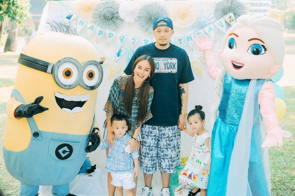 Minion Elsa Birthday Party for Bena and Brooklyn including cake and dessert table, kids table, decoration and balloons