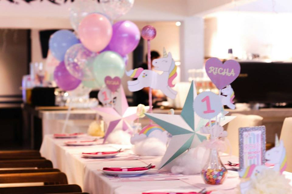 K.Ann Alicia and K.Puri's daughther, Little Richa, celebrating her first birthday  with Unicorn themed party including backdrop, cake and dessert table, kids table, decoration and surprise balloons