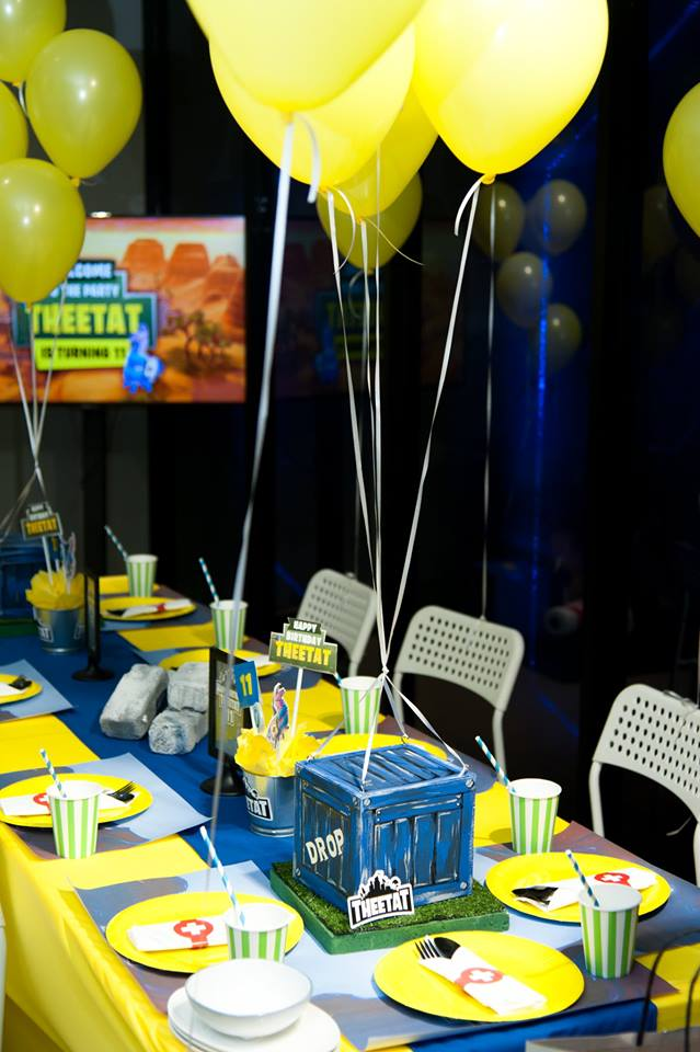 Fornite themed party ideas for your kids' next birthday including backdrop, cake table, balloons, party decoration, pinata and more fun stuffs!