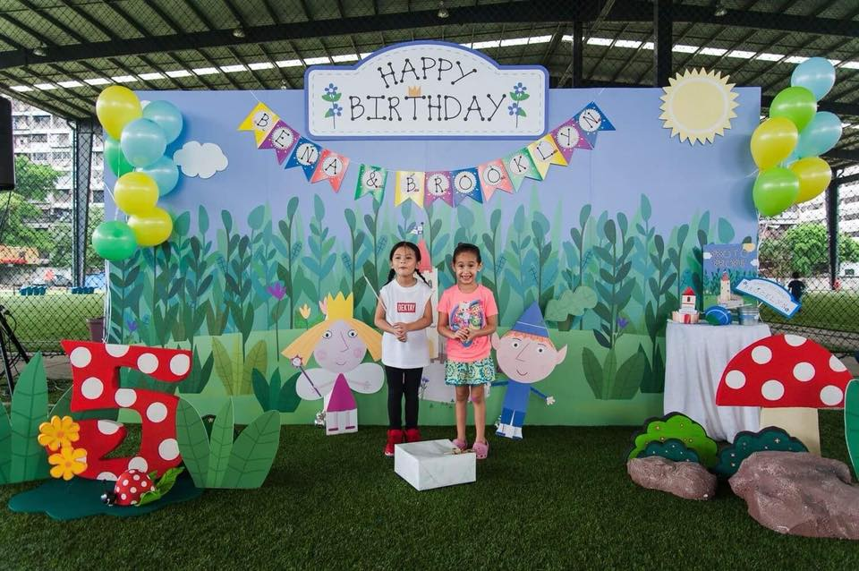 Kids Celebrities, Bena and Brooklyn's birthday party in Ben & Holly theme including backdrop, photo corner, cake and dessert table, kids table, decoration, pinata, goodie bag and surprise balloons