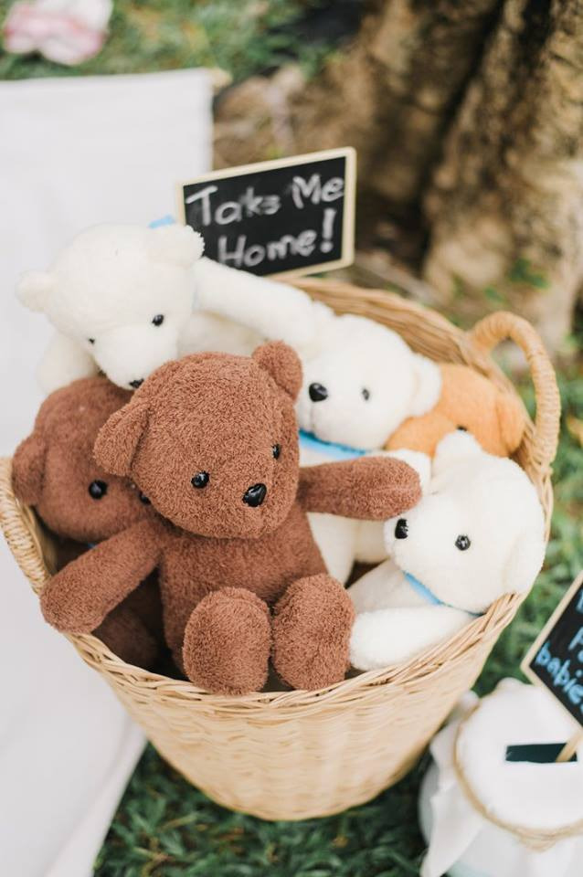 Cute Baby Bear themed party including backdrop, cake table, dessert, birthday cake and decorations - idea for your kids' next birthday