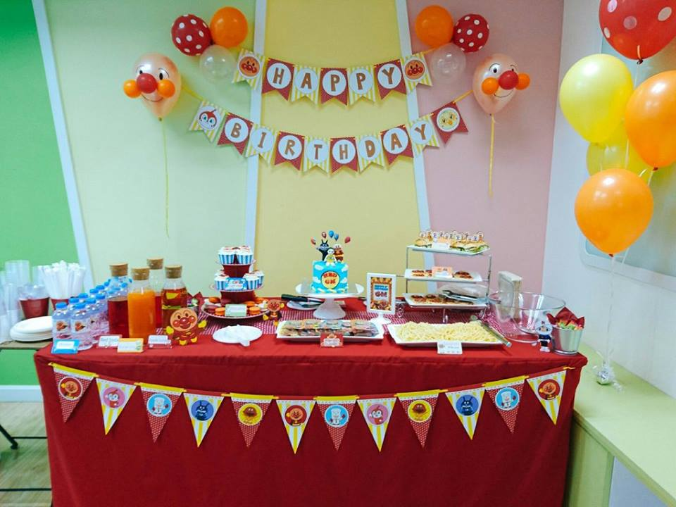 Anpanman Birthday Party with customized decoration, balloons, bunting, birthday cake, themed desserts and many more