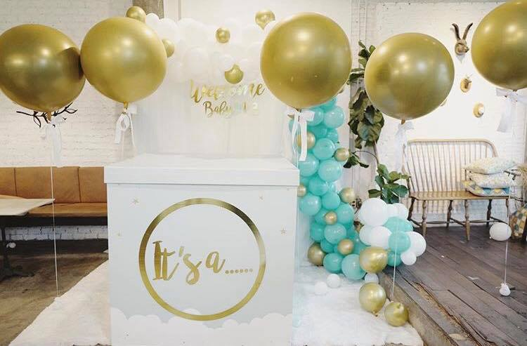 Baby Shower party idea theme for beautiful mom, K.May Marisa, with photogenic decoration, balloon arch, balloon box, surprise balloon, balloon pop