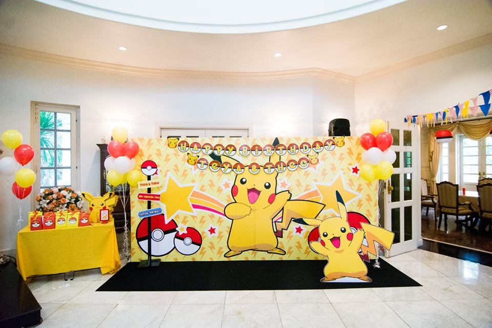 Favorite birtday theme, Pokemon and Pikachu - Choosing us, the birthday party organizer providing decoration, birthday cake, entertainments, party games, bozo, magician, balloon twist, clowns, mascot, show and more fun stuffs