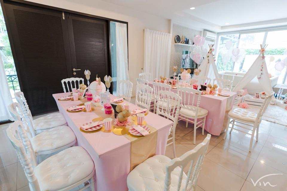 Minnie Mouse Baby Shower party to welcome Baby Prang, cute decorations and table setting with surprise cake, dessert, food and drinks