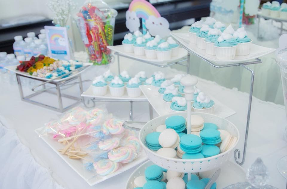Birthday decoration in blue sky and rainbow theme party with cute birthday  decoration, backdrop, cake table, birthday cake and themed desserts