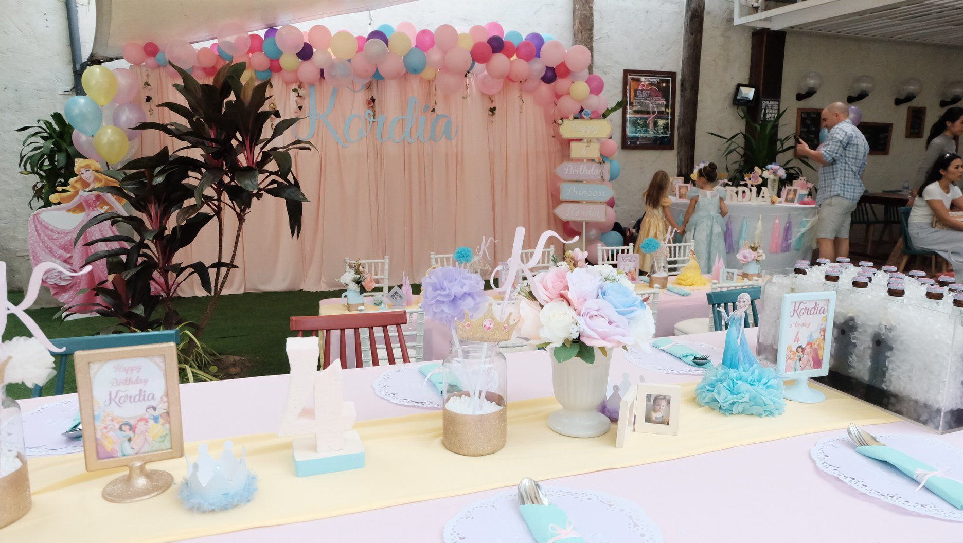 Surprise your girls with favorite birthday party celebration in Disney Princess theme and let us do the castle backdrop, princess balloons, princess mascot, bouncy castle and all you want
