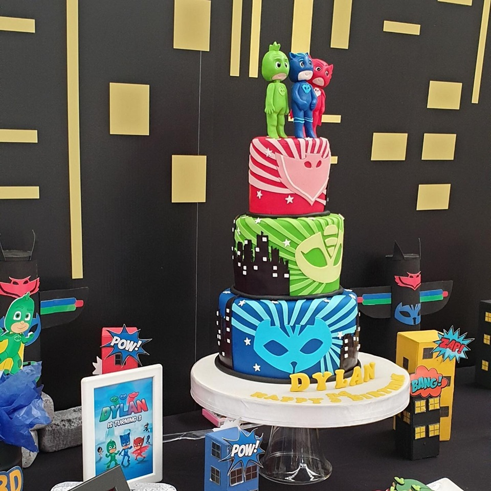 Cute birthday in PJ Masks decoration, backdrop, cake table, birthday cake and themed desserts, special for Dylan, K.Lydia and K.Matthew's baby boy