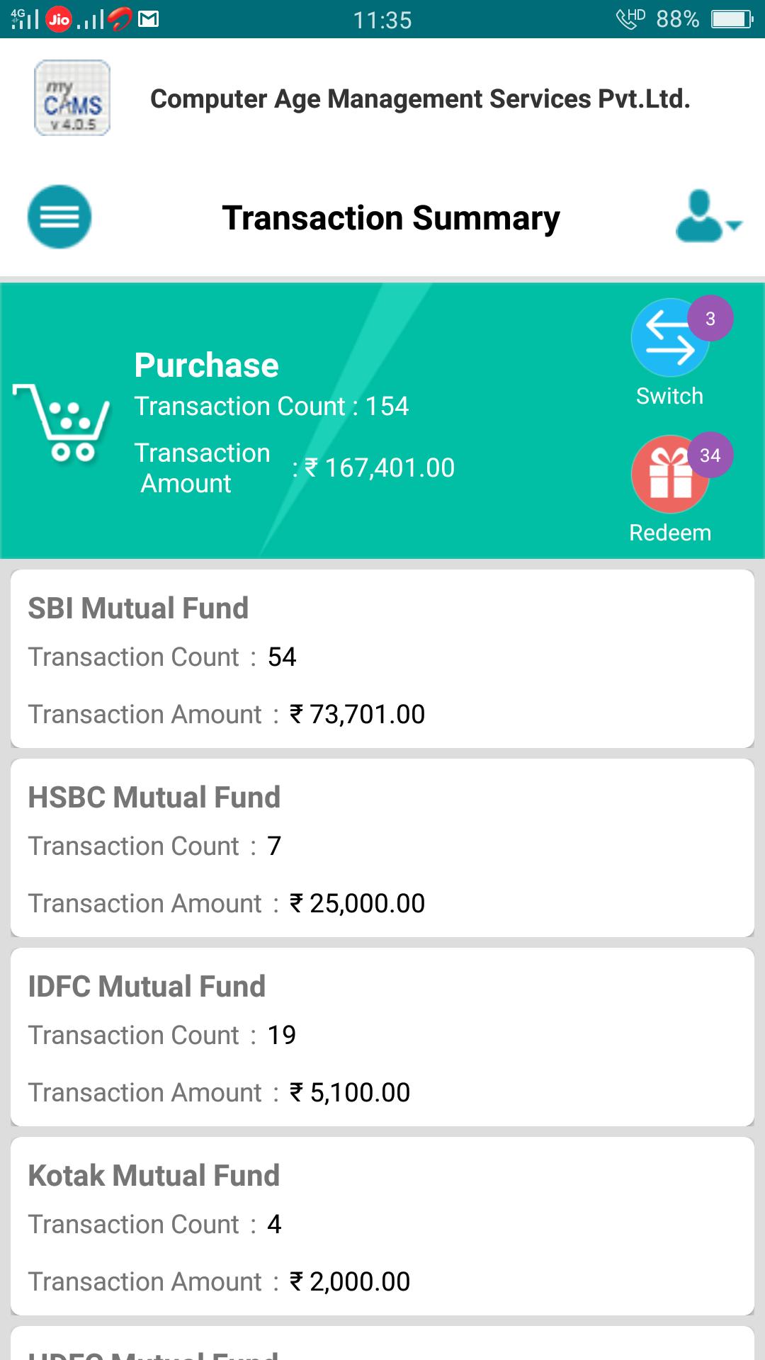 myCAMS Mutual Fund App - GMASA