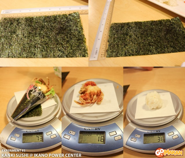 Measurement of ingredient of Soft Shell Crab Temaki