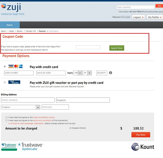 how to use zuji promo code