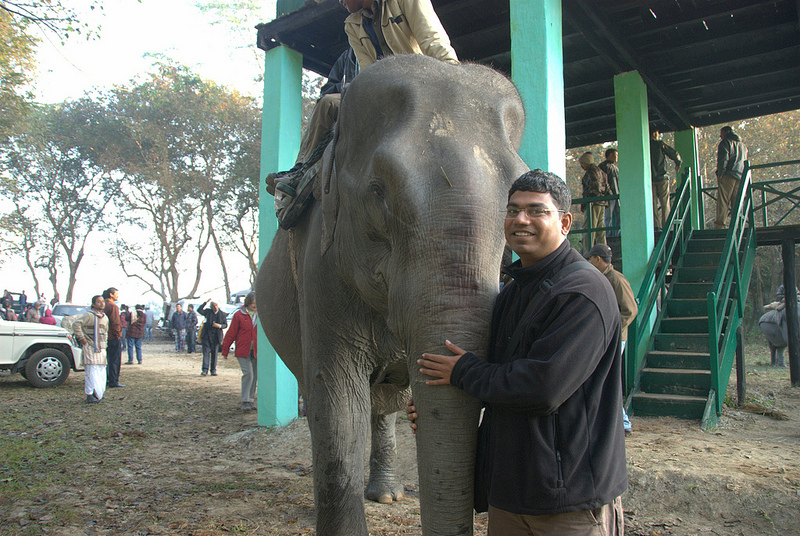 Kaziranga with an elephant