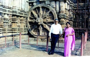 At the famous wheel in Sun Temple, Konark