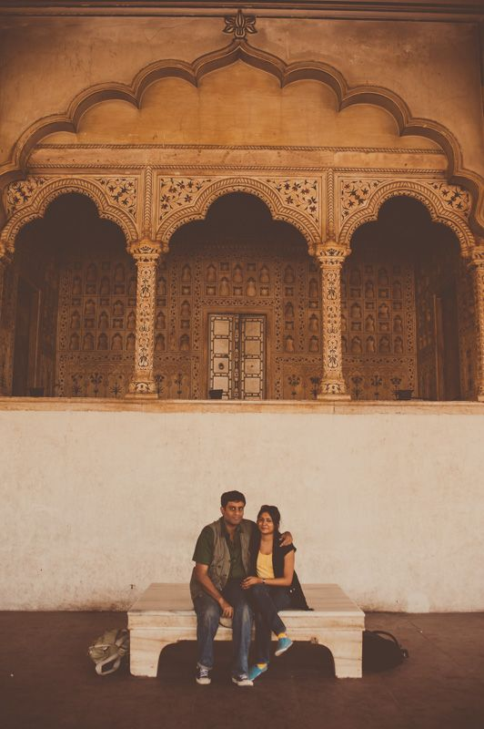 With my husband at the Agra Fort