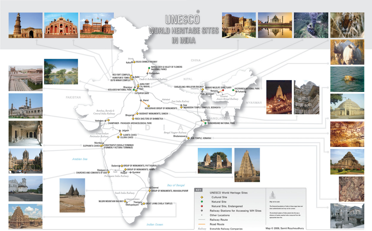 unesco world heritage site india map - 1200×744