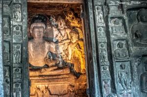 Buddha flanked by Bodhisattvas