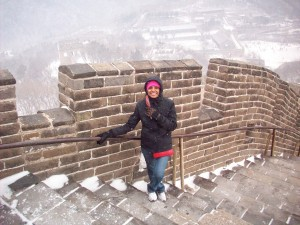 Great wall of China when it was snowing