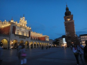 Old Town Square by night, Krakow, Poland