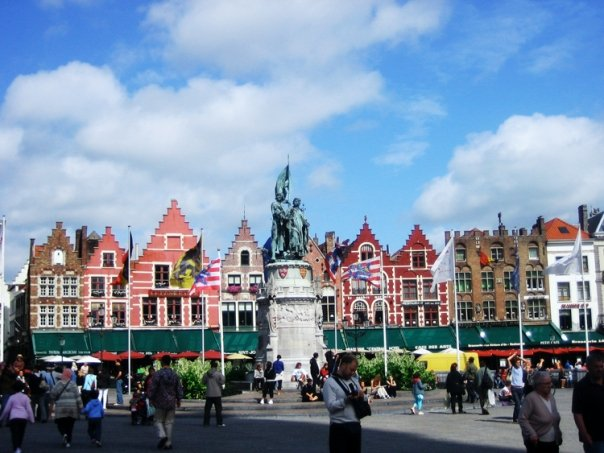 The Market Square in the Historic City Centre of Bruges