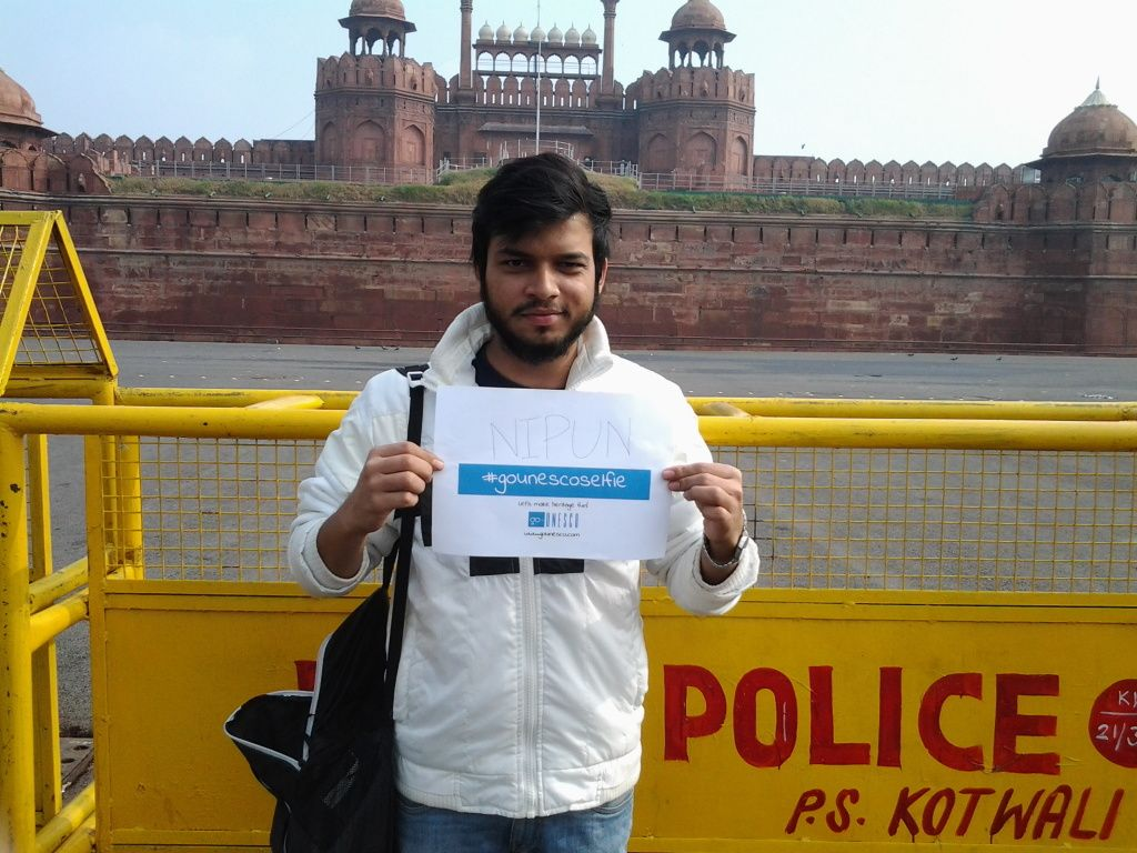 nipun red fort selfie
