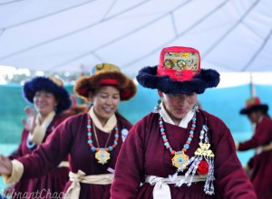 Ladakhi outfit - chunky jewelry and patchwork hats add to the beauty of the outfit