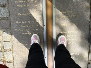 Greenwich Royal Park, the Royal Observatory and 2 feet each in a different hemisphere!