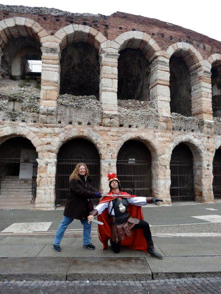 Kathleen and gladiator outside of the Verona Amphitheater.