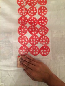 Experimenting patterns in a Block printing technique on fabrics